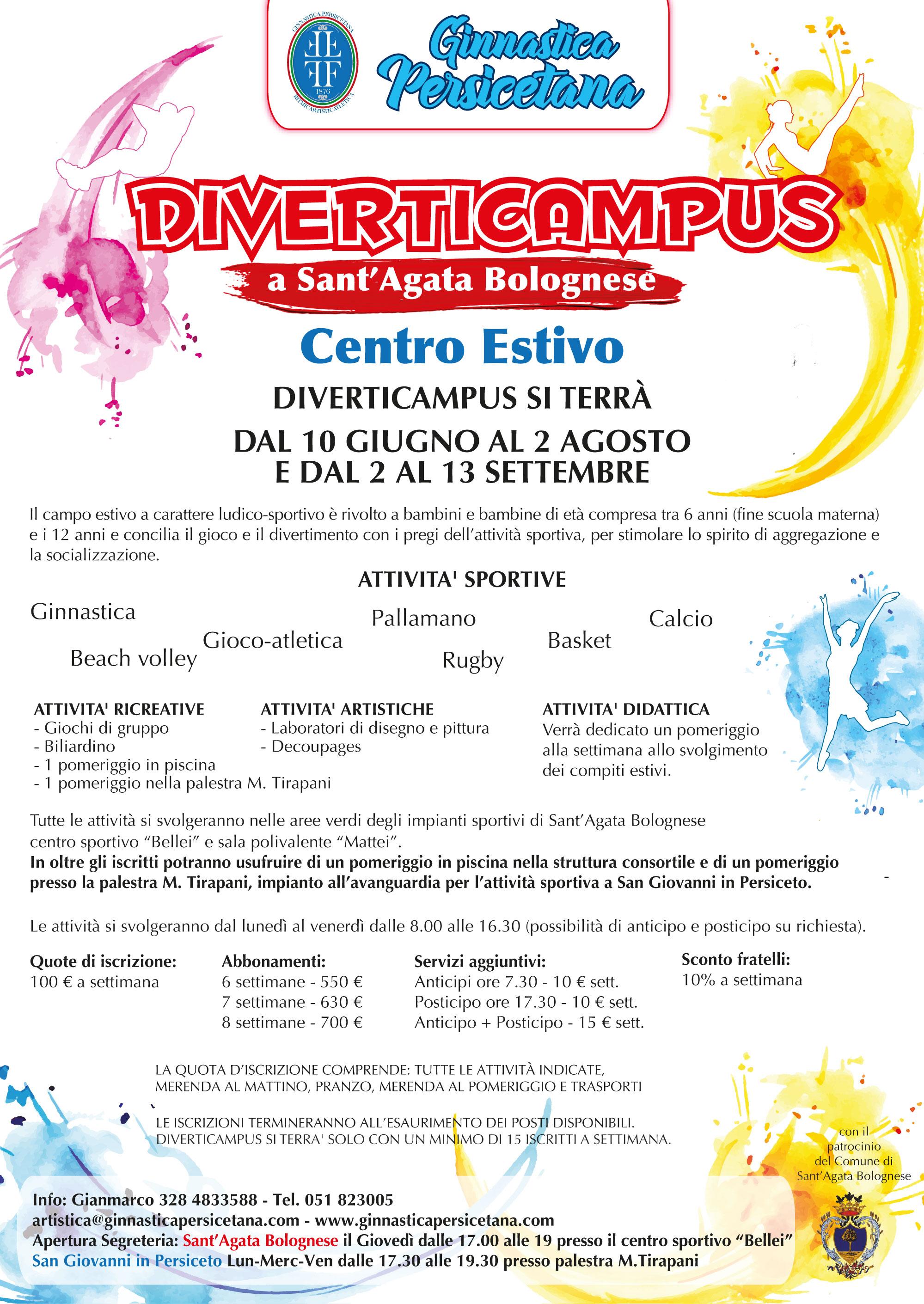 Il 15 aprile aprono le iscrizioni del DIVERTICAMPUS di Sant'Agata Bolognese